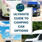 Camping car options such as RV, travel trailer, camper, or tiny house