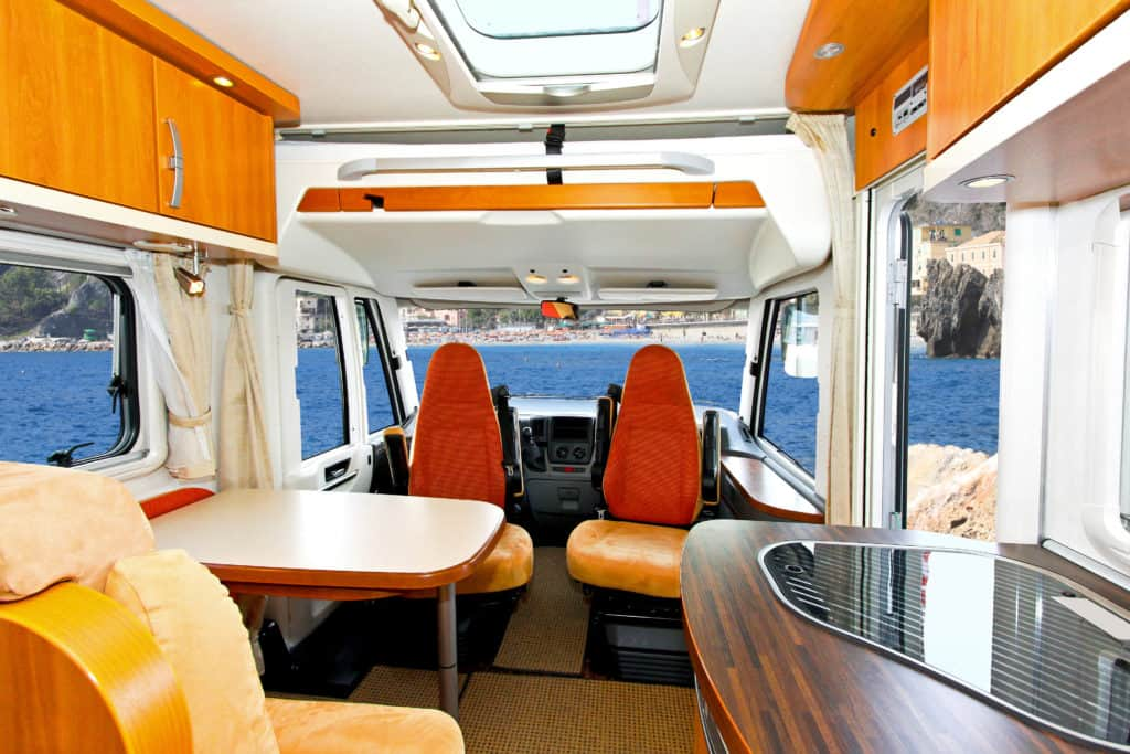 Sprinter van floor plan Interior of dining area in recreation vehicle