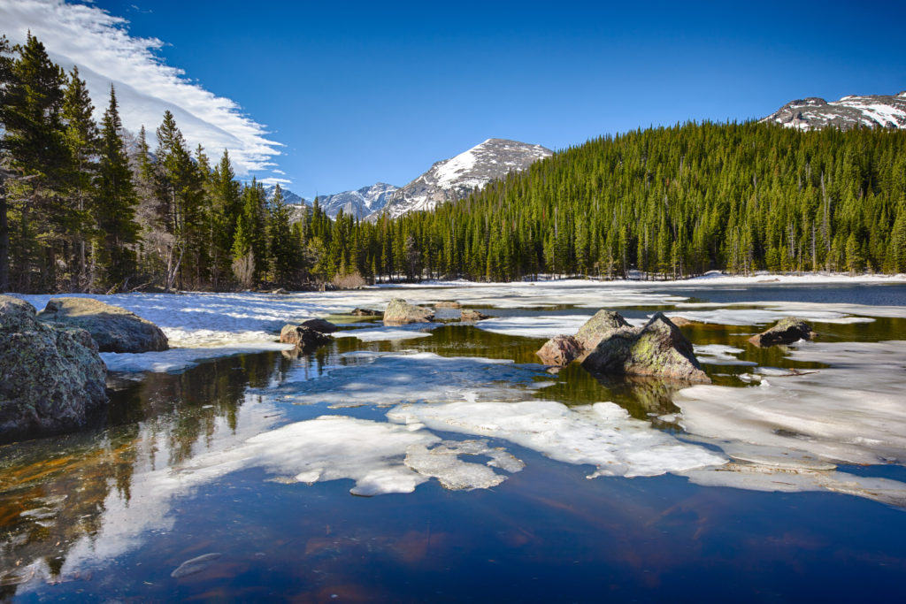 Bear Lake at the Rocky Mountain National Park, Colorado, USA, with ice filled lake and mountains in the background.