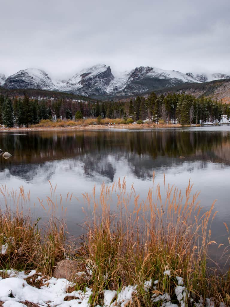 FIrst snow at Sprague Lake in Rocky Mountain National Park, Colorado.