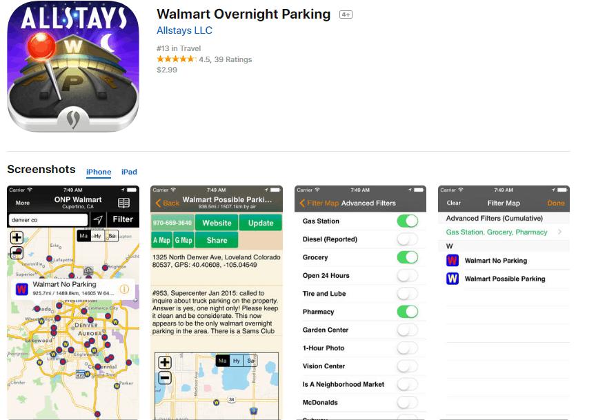 Walmart Allstays App Best Camping Apps