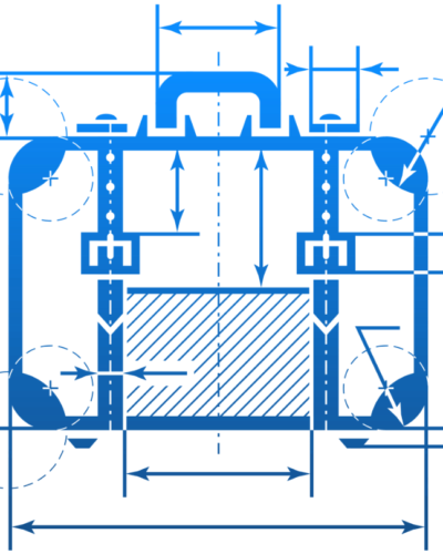 blueprint of suitcase