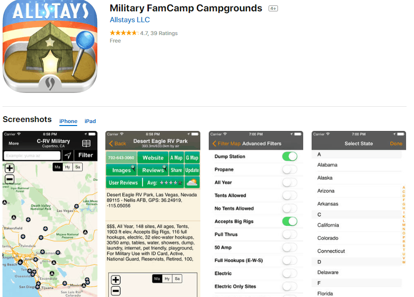Military Campground Finder App
