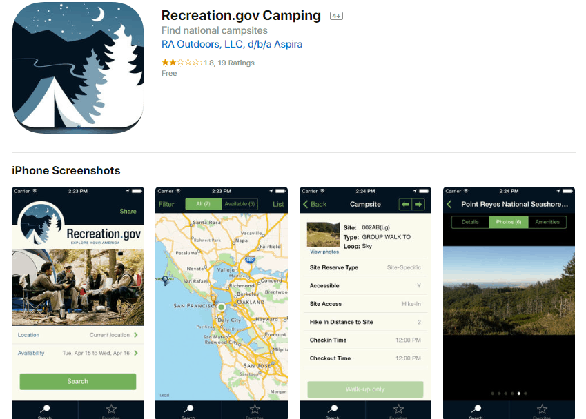 recreation.gov camping app