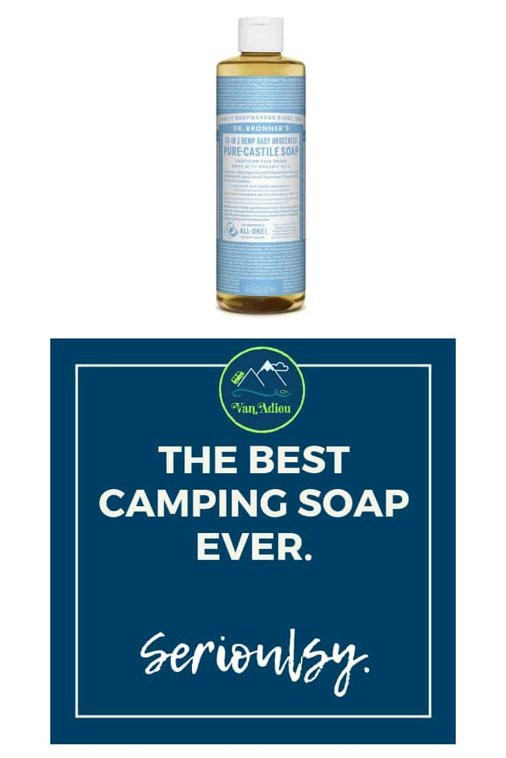 Dr. Brommers all natural non toxic castile soap is the BEST CAMPING SOAP EVER!