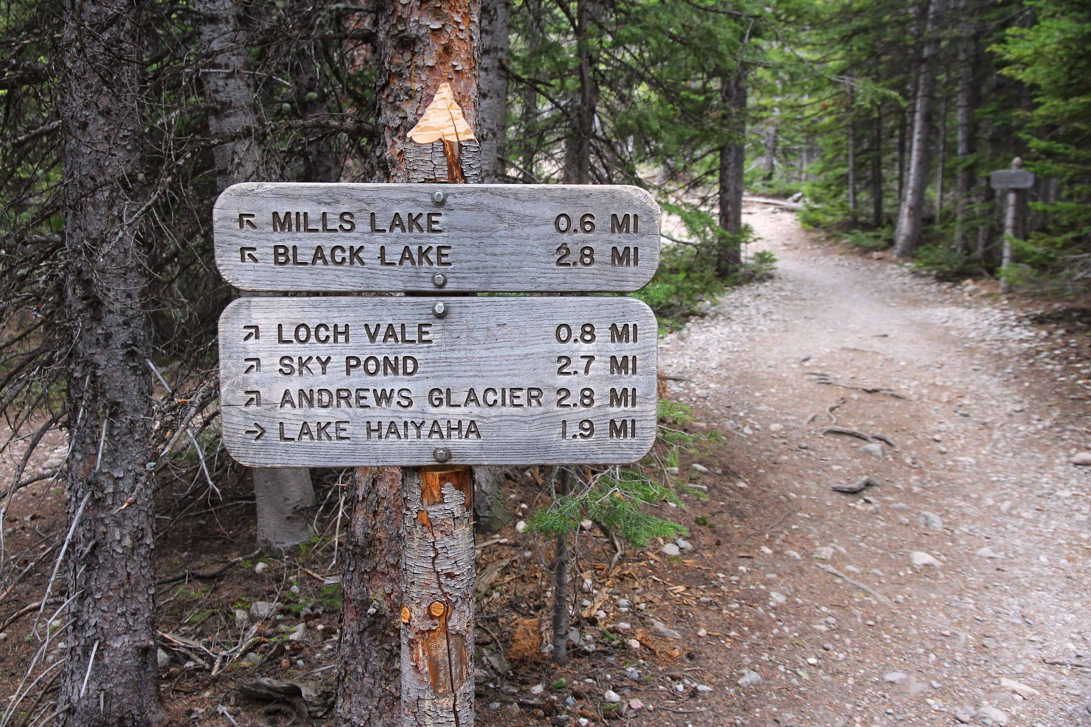 Rocky Mountain National Park in Colorado, USA. Trail signs to Mills Lake, Black Lake, Andrews Glacier and Lake Haiyaha.
