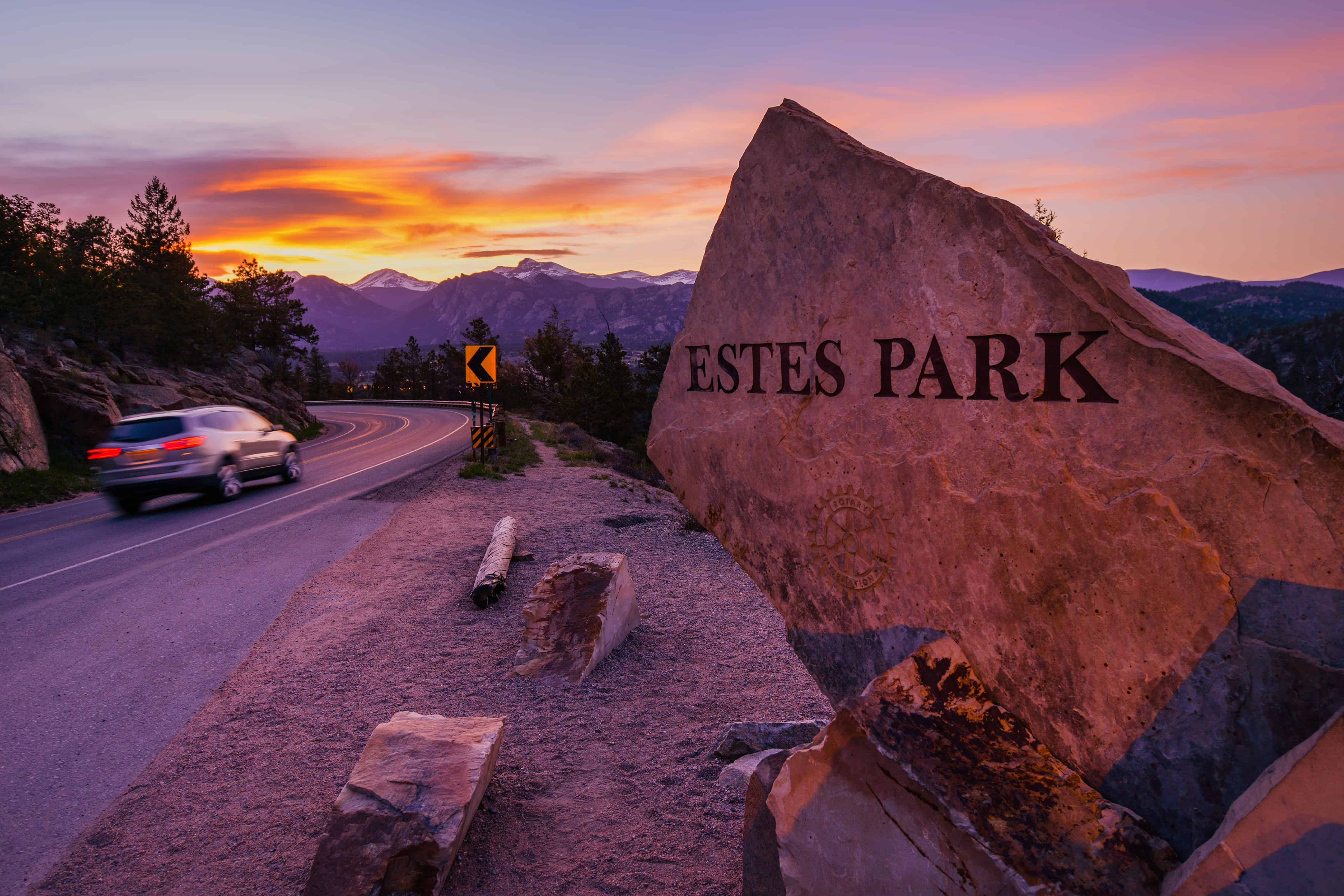 Hikes Near Estes Park. Highway 36 Entrance Sign at Sunset. Estes Park, Colorado, United States