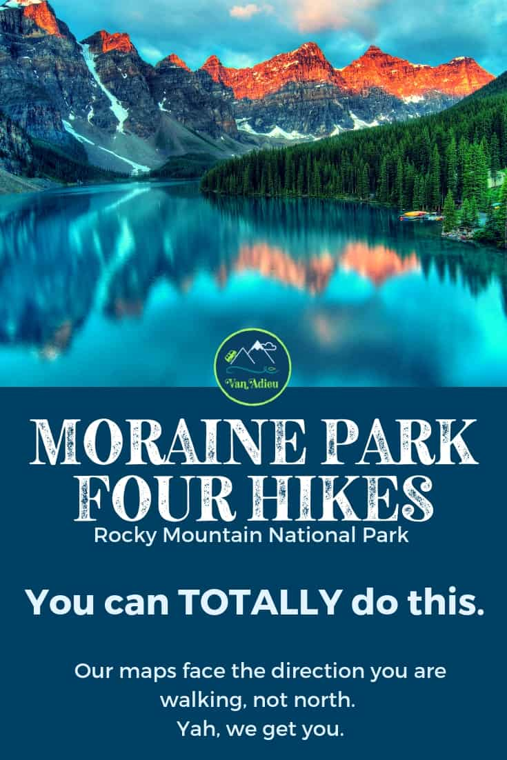 You CAN hike all four trails near Moraine Park Area in Rocky Mountain National Park, and we can help! Beginner hiker tips, gear, trails, and 3D maps that show the direction you are hiking, not north! We get you!