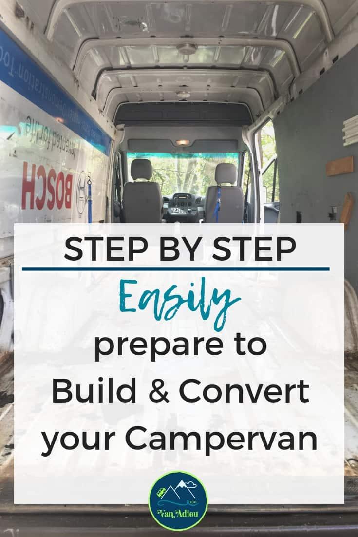 Prepare for sprinter van conversion into a tiny home