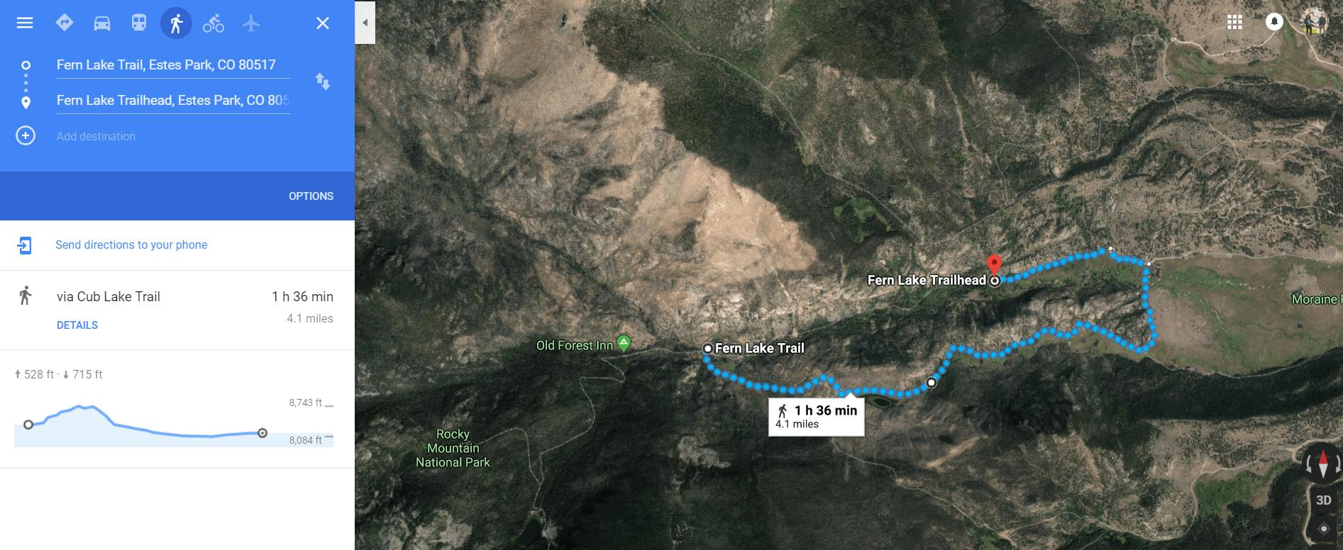 The Pool to Fern Lake Trailhead - via Cub Lake