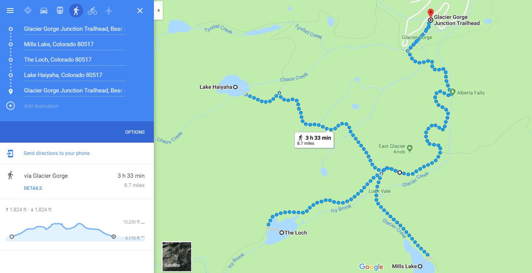Three Lakes from Glacier Gorge Trailhead