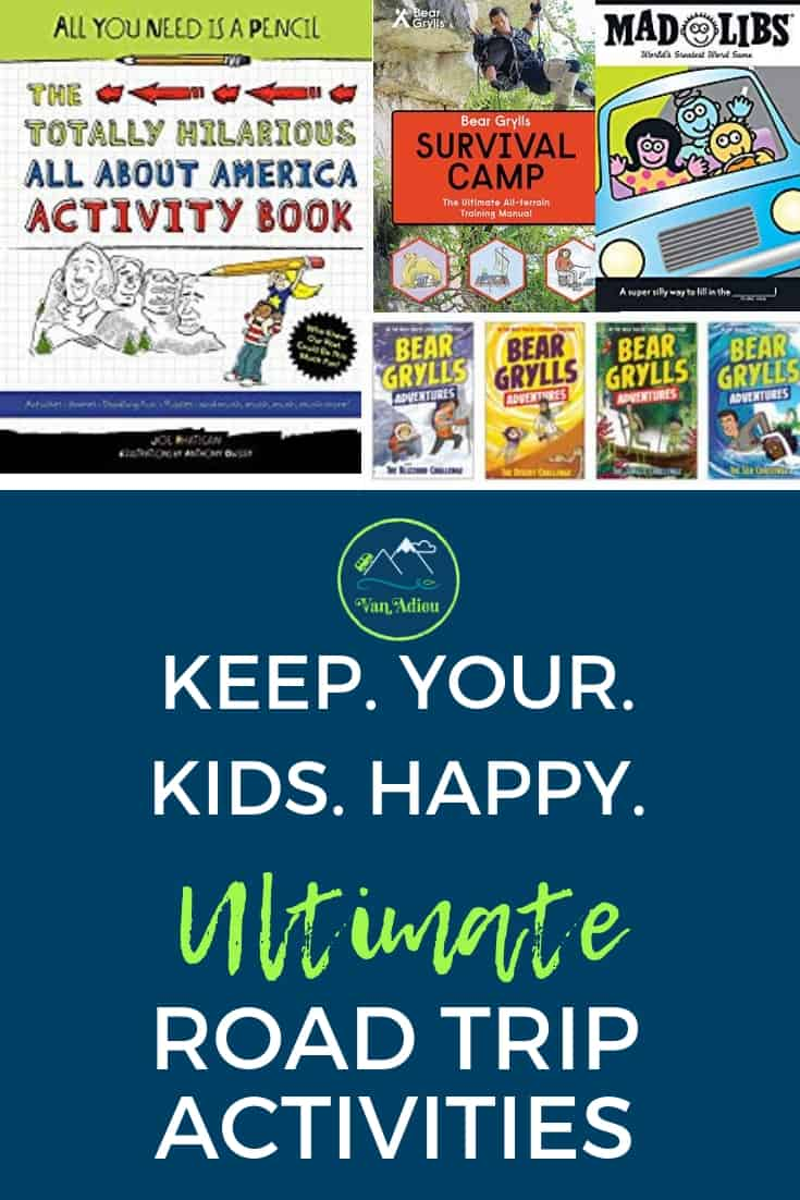 These Ultimate Road Trip Activities for Kids will make Thanksgiving and Christmas Road Trips to family amazing! Keep your kids happy and entertained as you drive with this Ultimate Guide to books, journals, and activities your kids will LOVE! #VanAdieu #StopWastingWeekends #RoadTrip #Christmas #Thanksgiving #Family #Kids #Holidays