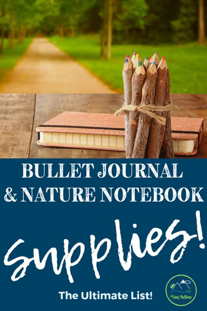 The COMPLETE list of nature journal supplies you need for any kind of bullet journal, field notebook, nature journal and more! From notebooks, pens, products, and more, this guide will also show you how to organize them all!