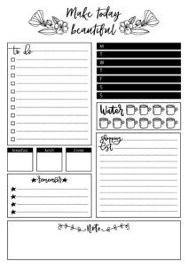 lean style daily planner vector template. Stationery Design. Cute and simple printable to do list.