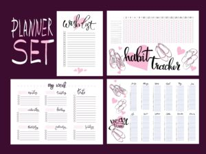 set: habit tracker, wish list,weekly and year planner blank template.