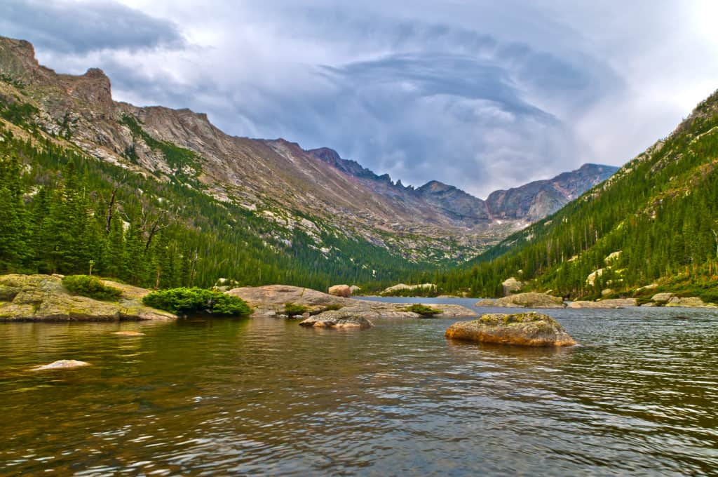 Early Morning with dramatic stormy sky at the Mills Lake - Rocky Mountains National