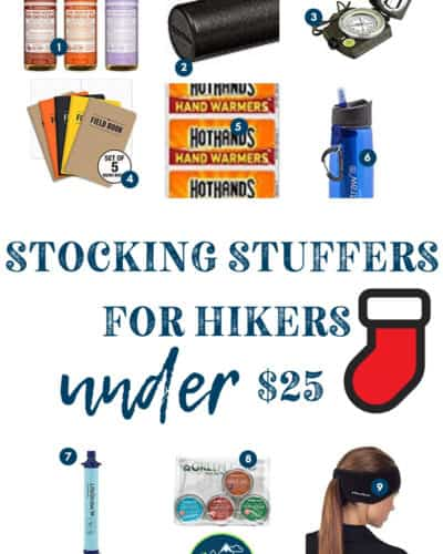 These 27 Gifts for Hikers, Campers, and Outdoor Enthusiasts make PERFECT Stocking Stuffers! All are UNDER $25 and will make any hiking or camping lover excited on Christmas! These awesome gift ideas for the holidays will make all your traveler and adventure junkies LOVE YOU!